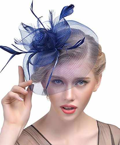 e2a261b725358 Urban CoCo Women s Vintage Flower Feather Mesh Net Fascinator Hair Clip Hat  Party Wedding Series 2-Navy Blue